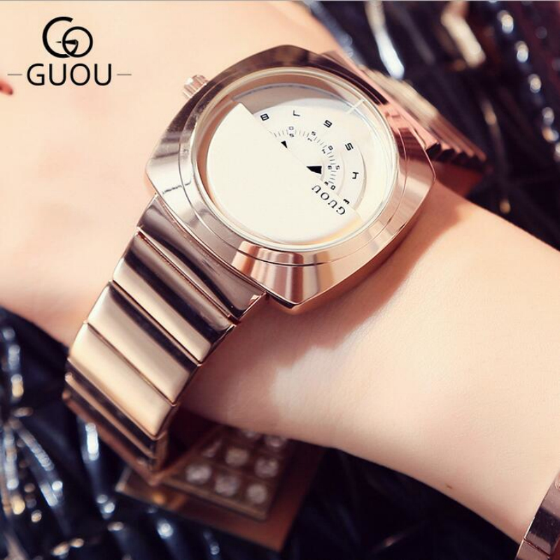 GUOU Luxury Ladies Watch Rose Gold Turntable Watch Women Watches Stainless Steel Wrist watches clock montre femme reloj mujer 2018 brand women watches women silicone square reloj mujer luxury dress watch ladies quartz rose gold wrist watch montre femme
