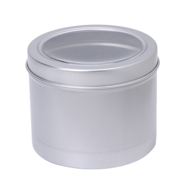 Incroyable Silver Empty Aluminum Cosmetic Pots Container Jar Tins Clear Top View  Window 180ml Hot!