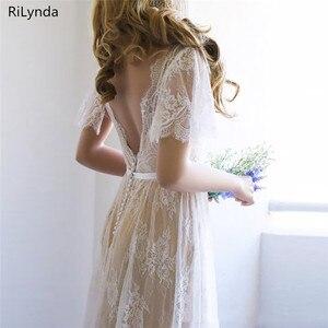 Image 4 - Bohoชุดแต่งงาน2020 Vคอหมวกลูกไม้ชุดแต่งงานราคาถูกBackless Custom Madeจัดส่งฟรีเจ้าสาว