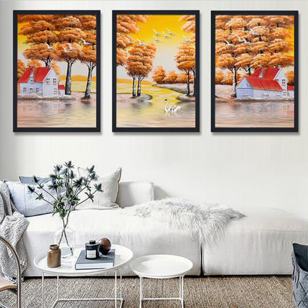 Unframed HD 3 European Art Paintings Jiangnan Water Village Sunset Landscape Oil Painting Living Room Decoration Canvas