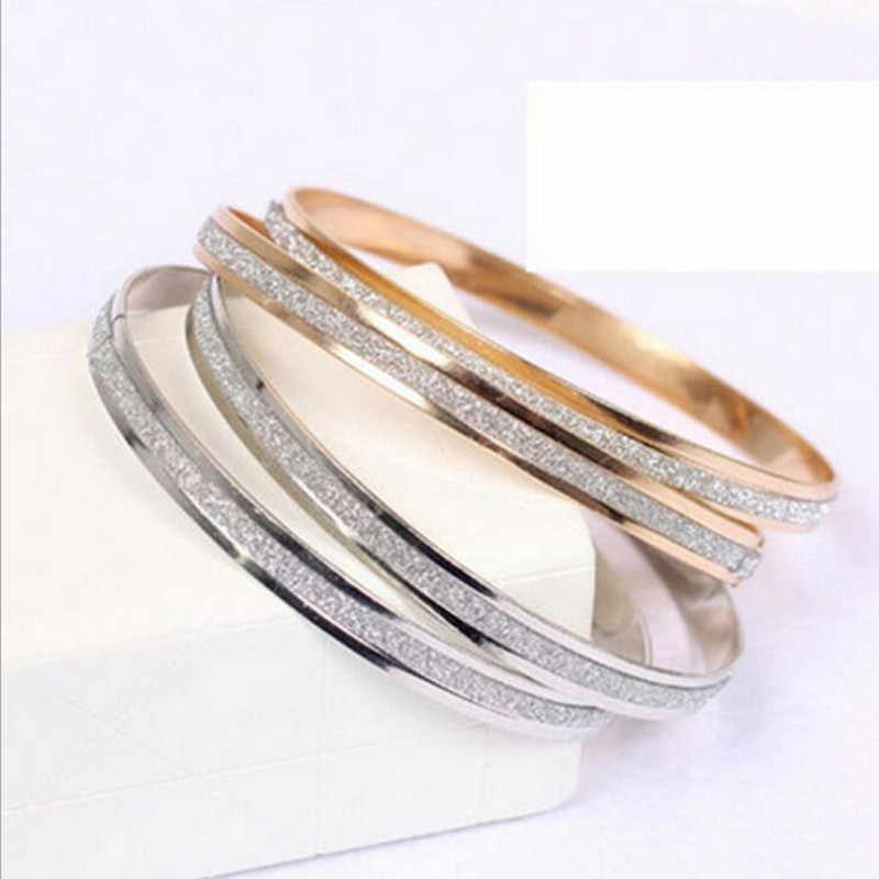 2018 New Korean fashion wholesale single round frosted rose gold bracelet women gifts (Single price) wholesale women bracelet