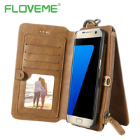 FLOVEME Retro Phone Case For Samsung S6 S7 Edge S8 Plus Luxury Leather PU Card Wallet