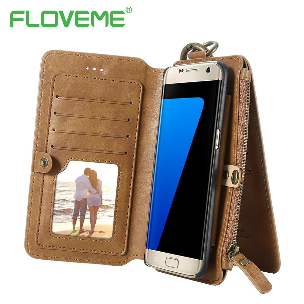 imágenes para Floveme s8 teléfono retro case para samsung s6 s7 edge plus de cuero de lujo pu tarjeta monedero cubierta del soporte para galaxy note 3 4 5 7 case