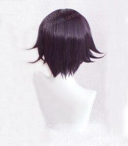 Image 3 - เกม Danganronpa V3 Koukichi Kokichi Ouma สีม่วง Ombre ผมสั้นวิกผมสังเคราะห์ผมวิกผม + วิกผมฟรีหมวก