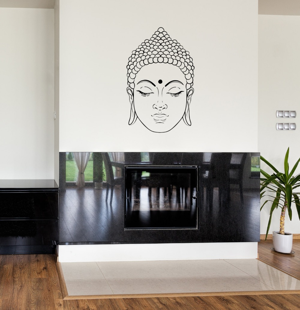 Zen buddhism wall decal buddha face vinyl sticker indian religious zen buddhism wall decal buddha face vinyl sticker indian religious living room wall stencil removable portrait wall decalsyy179 in wall stickers from home amipublicfo Choice Image
