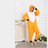 New Fashion Women's Fox Pattern Footed Pyjamas For Adults Full Sleeve Polyester Sleep Lounge Onesies Pajama Female
