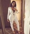 2015 outono Two Pieces branco fino Blazer Set Ladies escritório desgaste terno mulheres ternos de negócio ternos formais escritório de trabalho com calças