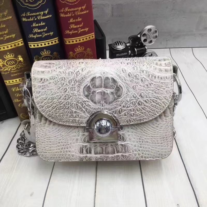 Luxury Branded Designer 100% Genuine Crocodile Skin Leather Ladies Metal Lock Purse Silver Chain Mini Bag Flap Bag Shoulder BagLuxury Branded Designer 100% Genuine Crocodile Skin Leather Ladies Metal Lock Purse Silver Chain Mini Bag Flap Bag Shoulder Bag