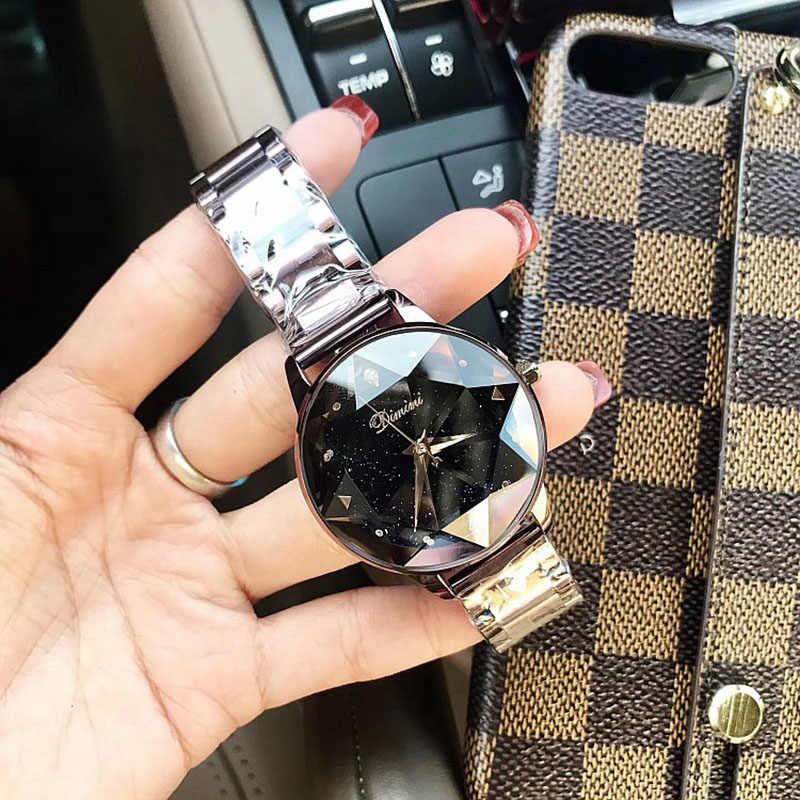 Marque de luxe dames cristal montre femmes robe montre or Rose Quartz montres femme acier inoxydable montres horloge 2018 Saat