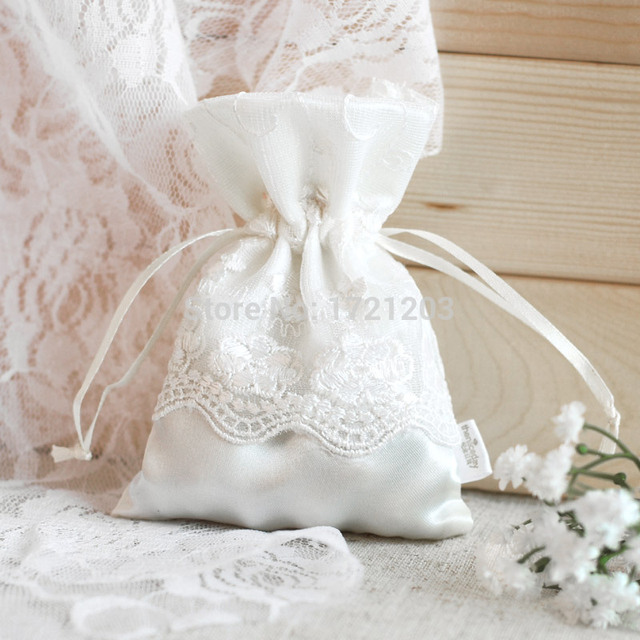 1pc Vintage Wedding Favor Cloth Bags Dainty Lace Drawstring Thank You