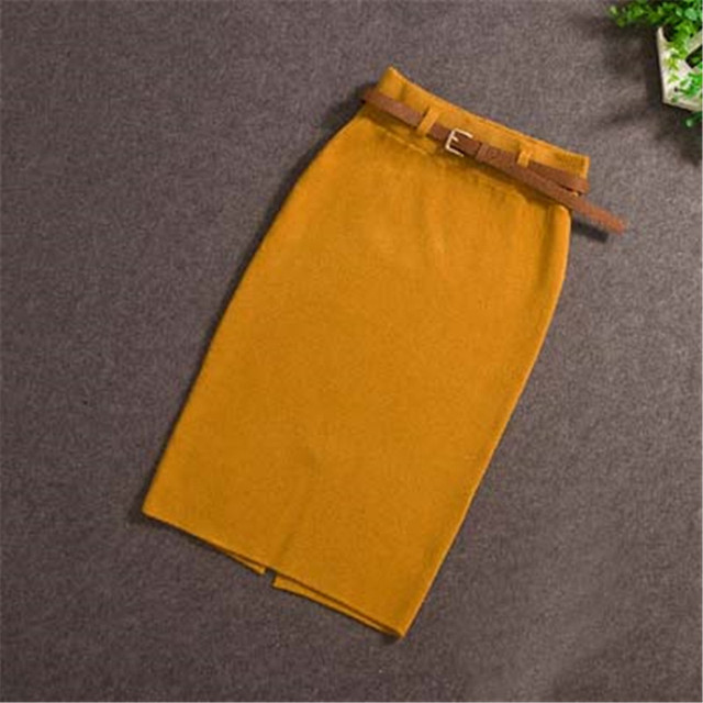 2018 Women Midi Skirts Knitting Solid Female Pencil Skirt  Autumn Winter High Waist with Sashes Bodycon Package Hip Split SK6008