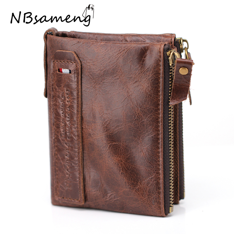 2018 Genuine Crazy Horse Cowhide Leather Men Wallet Short Coin Purse Small Vintage Wallet Brand High Quality Designer genuine cow leather wallet 2017 men wallet short coin purse small vintage wallet brand high quality designer wallets purse