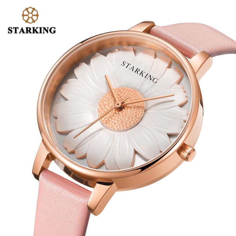 STARKING Watch 1021 New Design Pink Daisy Women Watch 2018 Genuine Leather Dress Watch Women Relogio Feminino Hodinky Waterproof