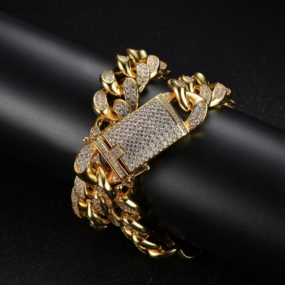 20mm or argent rond chaîne cubaine collier hommes Hip Hop Rock lourd Bling glacé AAA CZ pierre Chokers colliers rappeur bijoux