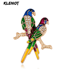 Rhinestone Colorful Enamel Bird Branch Brooch Pin Couple Parrot Animal Jewelry Love Pin and Brooches for Women Mother's Day Gift