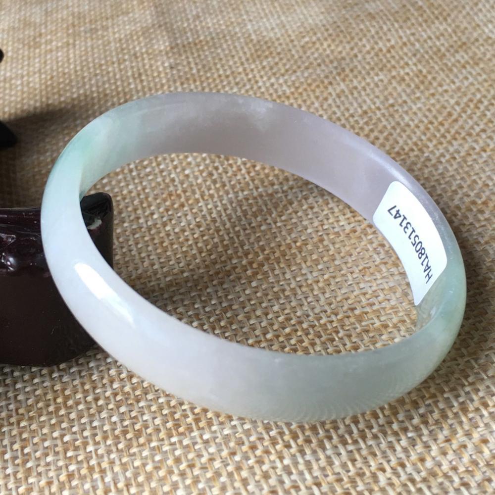 53*49mm Certified (Grade A)100% Natural Lavender stoneite Bracelet Bangle 13147