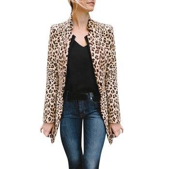 Women Leopard Printed Sexy Winter Warm Wind Coat Cardigan Long Cardigan Coat Fashion sexy long sleeve jacket New Arrival jeans con blazer mujer