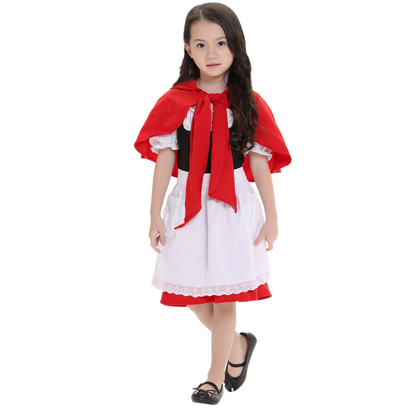 carnaval Little Red Riding Hood costume home party stage role acting dress girls new year clothing high quality