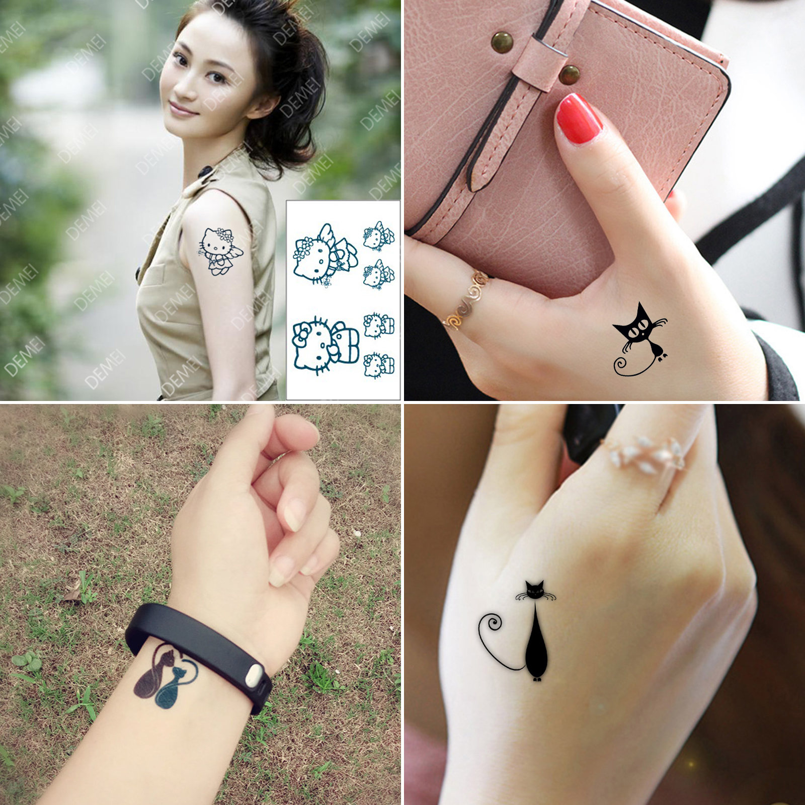 4 PCs Original Cute Lovely Cat Lover Fake Tattoo Waterproof Temporary Arm Tatoo Stickers For Women Men Body Art Tattoos