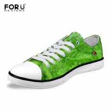 FORUDESIGNS Classic Women Vulcanized Shoes 3D Green Leaves Ladybug Prints Low Women's Casual Canvas Shoes Fashion Girls Flats