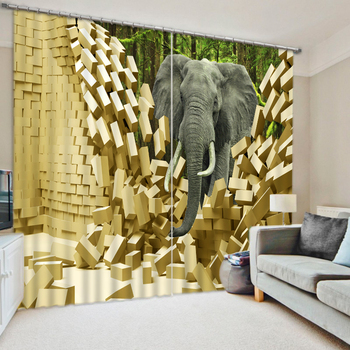Photo elephant 3D Curtains for Living Room Window 3D Curtain Printing Blockout Polyester Chinese