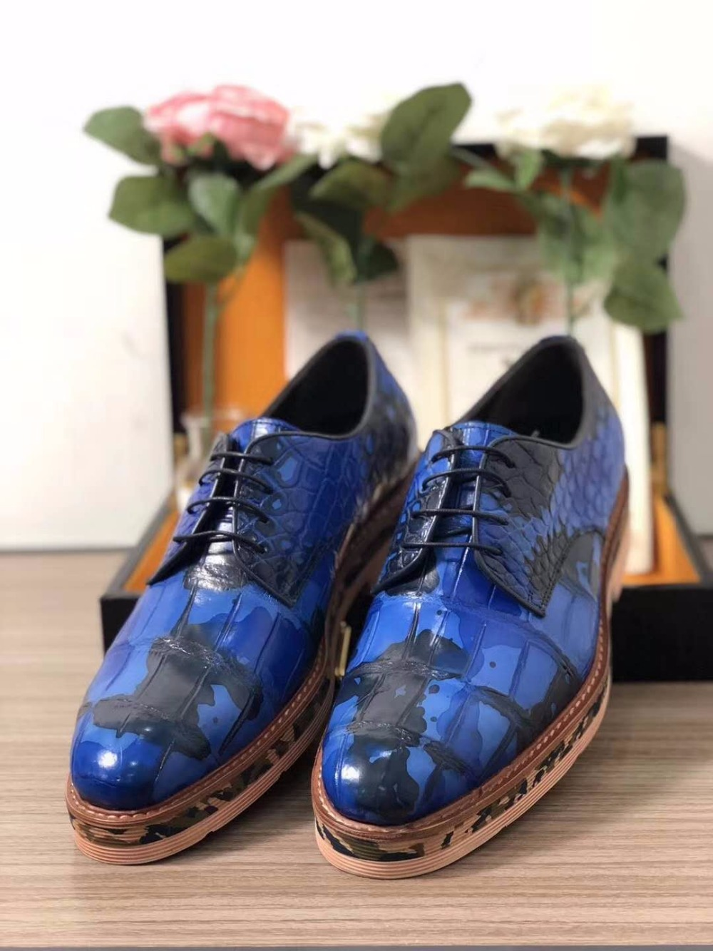 2018 Genuine real genuine crocodile belly skin men business shoe Camouflage blue color top quality fast free shipping 2018 genuine real genuine python skin men shoe top quality snake skin handmade men shoe black blue color free shipping