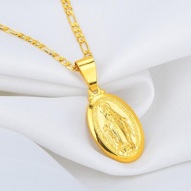Uomini caldi Delle Donne di Oro-colore Cattolica Religiosa Vergine Maria Del Pendente Della Collana Dei Monili