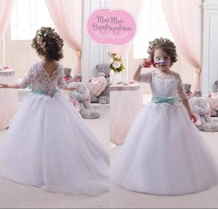 2017 White Baby Princess Flower Girl Dress Lace Appliques Wedding Prom Ball Gowns Birthday Communion Toddler Kids TuTu Dress 2018 lovely baby infant toddler little girls birthday dress long sleeve lace tulle flower girl dress tutu ball gowns