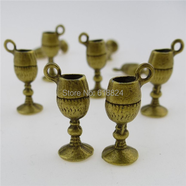 (40 pieces/lot) 12787 Antique Vintage Bronze Alloy Wine Cup Drinking Pendant - jewelry style store