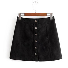 single breasted buttons Suede winter skirt women mini skirt women skirts womens saia midi faldas mujer jupe vintage ladies skirt