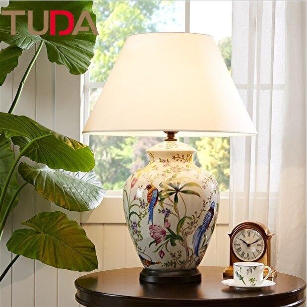 50*70 cm Fleurs et Oiseaux En Céramique Lampe de Table peint à la Main Lampe de Table En Céramique Fissure Glaçure Salon lampe de Table