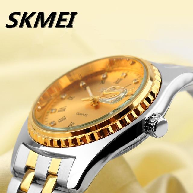 b27bea832cd Ouro Marca De Lujo Superior Cinta Masculina Moda Casual Relógios Auto Data  de Aço Inoxidável Relógio