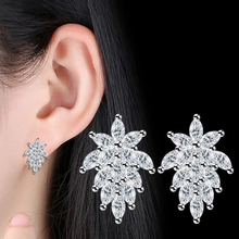 New Fashion Jewelry Leaves Stud Earrings For Women Peacock Ttail Sale Ear Cuff Silver-color Earring Crystal Flower Leaf Geometry