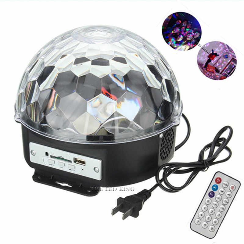 18 W BLUETOOTH MP3 mágica de cristal bola giratoria control remoto 6 colores RGB 3IN1 bolas de disco luces para fiestas/ LED luces de escenario