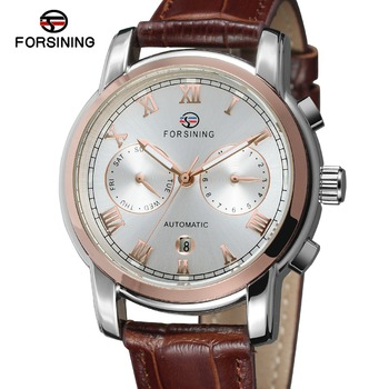 FORSINING New Men's Original Automatic Mechanical Calendar Watch with Leather Strap Military Clock Relojes