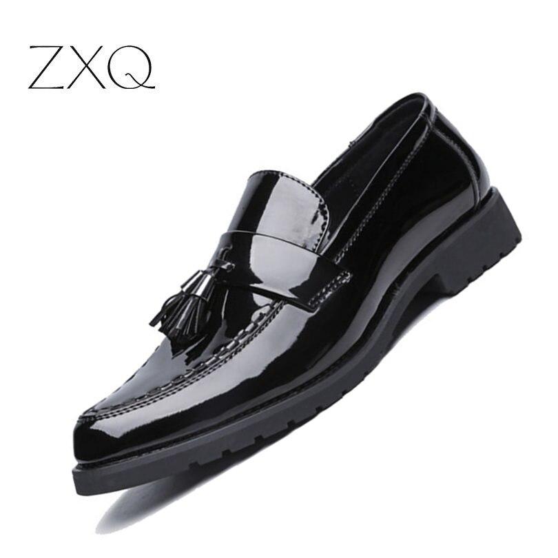 Mocassins Black Nouveau De Mode Verni Appartements Occasionnels Chaussures Cuir Hommes Pour Luxe En Conduite xOrEOw
