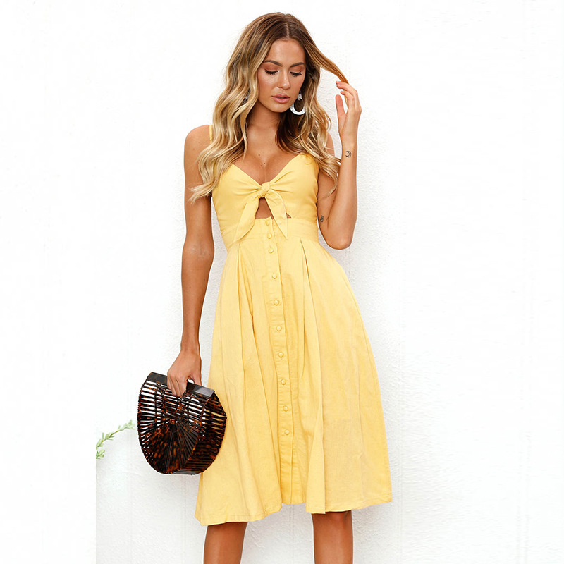 DERUILADY 2018 Summer Spaghetti Strap Dresses Deep V Neck Sexy Party Buttons Dress Women ...