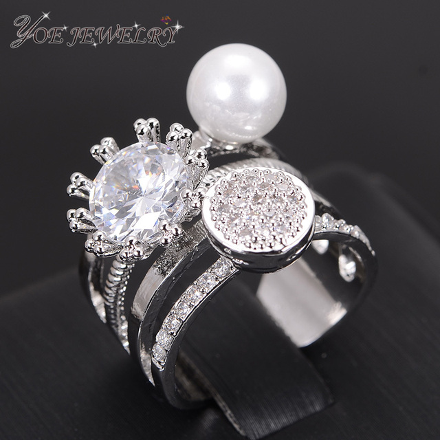 IYOE IYOE Cool Style Openwork Cubic Zirconia Rings  Swept Pearl Anniversary Ring Women's Fashion Bridal Jewelry Bijoux