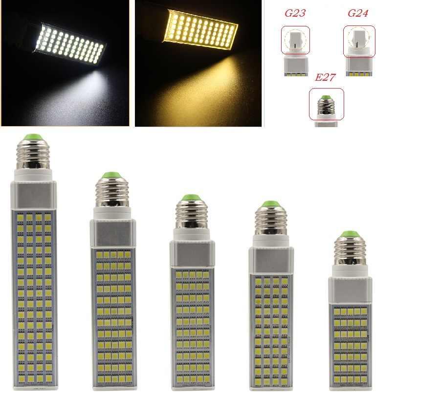 Lampada G23 G24 E27 5W 7W 9W 11W 13W 15W 85V-265V/AC Horizontal Plug lamp SMD5050 Bombillas LED PL Corn Bulb Spot light CE RoHS