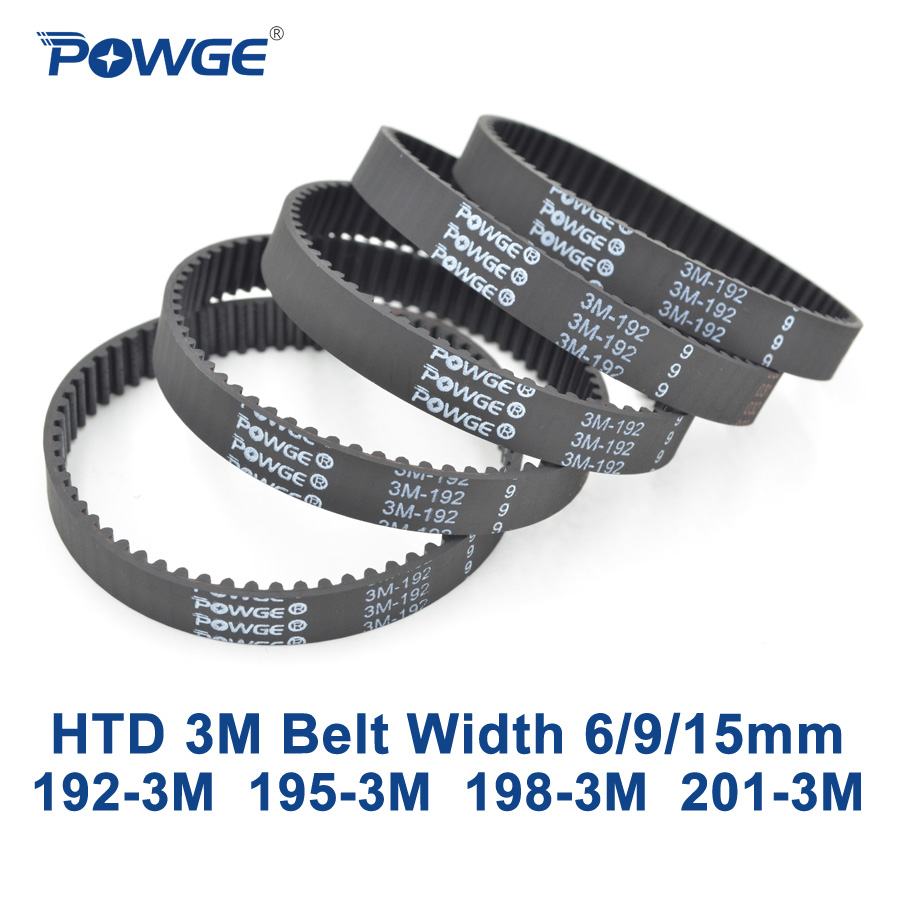 POWGE Arc HTD 3M Timing belt C= 192 195 198 201 width 6/9/15mm Teeth 64 65 66 67 HTD3M synchronous 192-3M 195-3M 198-3M 201-3MPOWGE Arc HTD 3M Timing belt C= 192 195 198 201 width 6/9/15mm Teeth 64 65 66 67 HTD3M synchronous 192-3M 195-3M 198-3M 201-3M