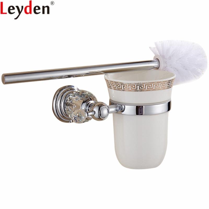 Leyden Silver Toilet Brush Holder European Style Zinc Alloy and Crystal Toilet Brush Holder Chrome For