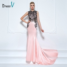 Dressv appliques lace mermaid evening dress light pink court train long women evening party dress plus size custom dress evening