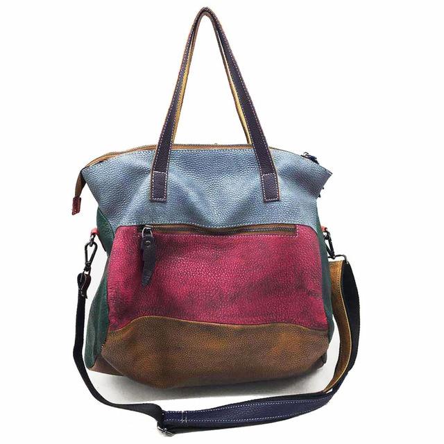 Patchwork Genuine Leather Bag Lady Vintage Retro Chic Big Capacity Handbag 2019 Fashion Designer Luxury Crossbody Bag for Women 5