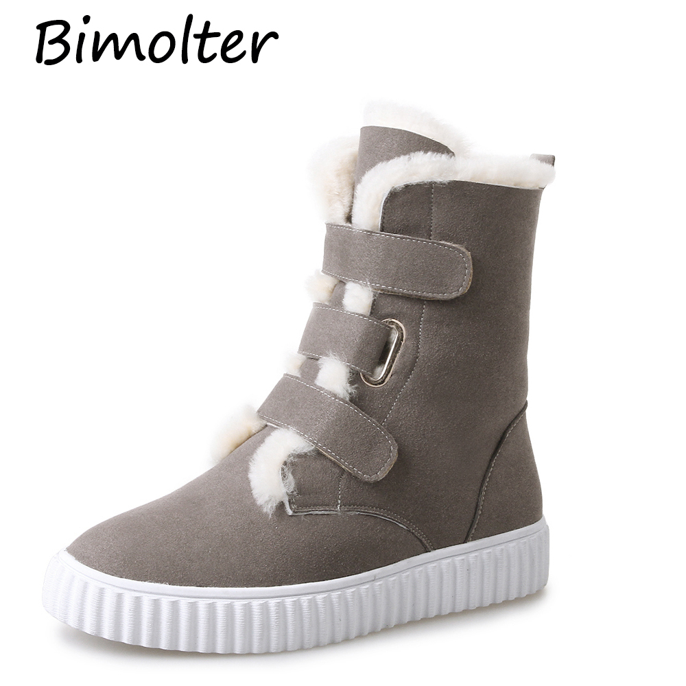 Bimolter Women Long Boots Black Grey Long Wool Fur Winter Warm Boots Velcro Round toe Platform Shoes Quality  Long Boots NA021