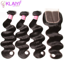 KLAIYI Hair Brazilian Body Wave Med Lukning 4 PCS Remy Hair Weave Bundler Med Lukning 100% Human Hair 3 Bundles With Closure