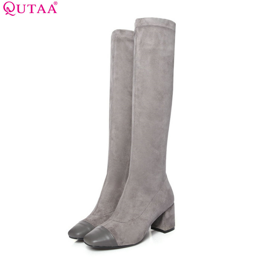 QUTAA 2019 Women Knee High Boots Platform Fashion Cow Leather+Pu Square High Heel Winter Shoes Woman Motorcycle Big Size 34-39 qutaa 2019 woman ankle boots fashion cow leather pu square high heel women shoes winter shoes ladies motorcycle boots size 34 42