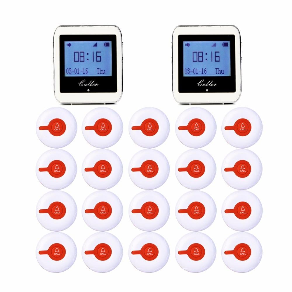 2 pz 999 Canale RF Senza Fili di Orologio Da Polso Ricevitore Per Negozio di Fast Food Ristorante Chiamata di Paging del Sistema 433 mhz + 20 tasto F3288B