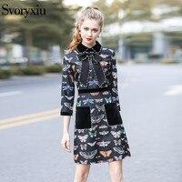SVORYXIU Autumn Runway Designer Vintage Dress Women High Quality 3 4 Sleeve Butterfly Print Beading Party