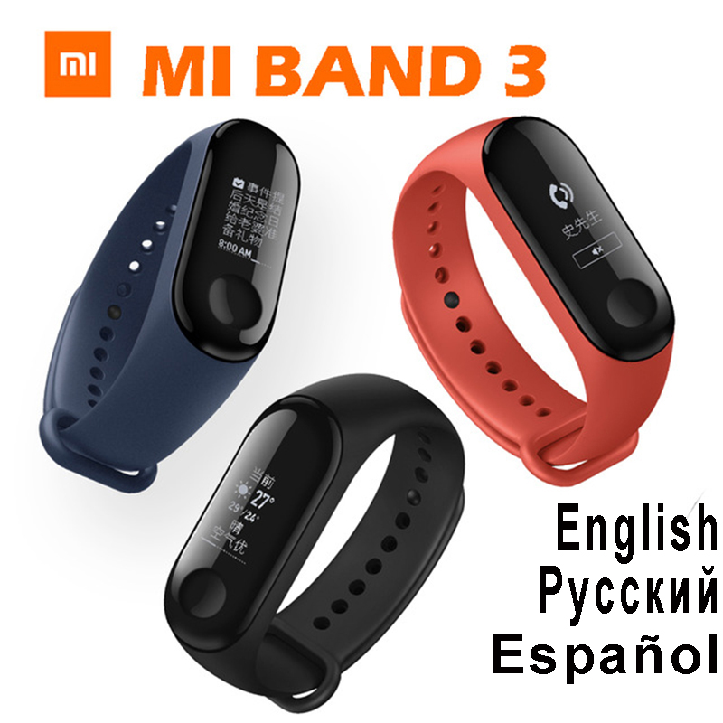 цена на in Stock 2018 New Original Xiaomi Mi Band 3 Smart Band Mi band 3 Smart Bracelet Watch OLED Display Mi band 2 Upgrade Version