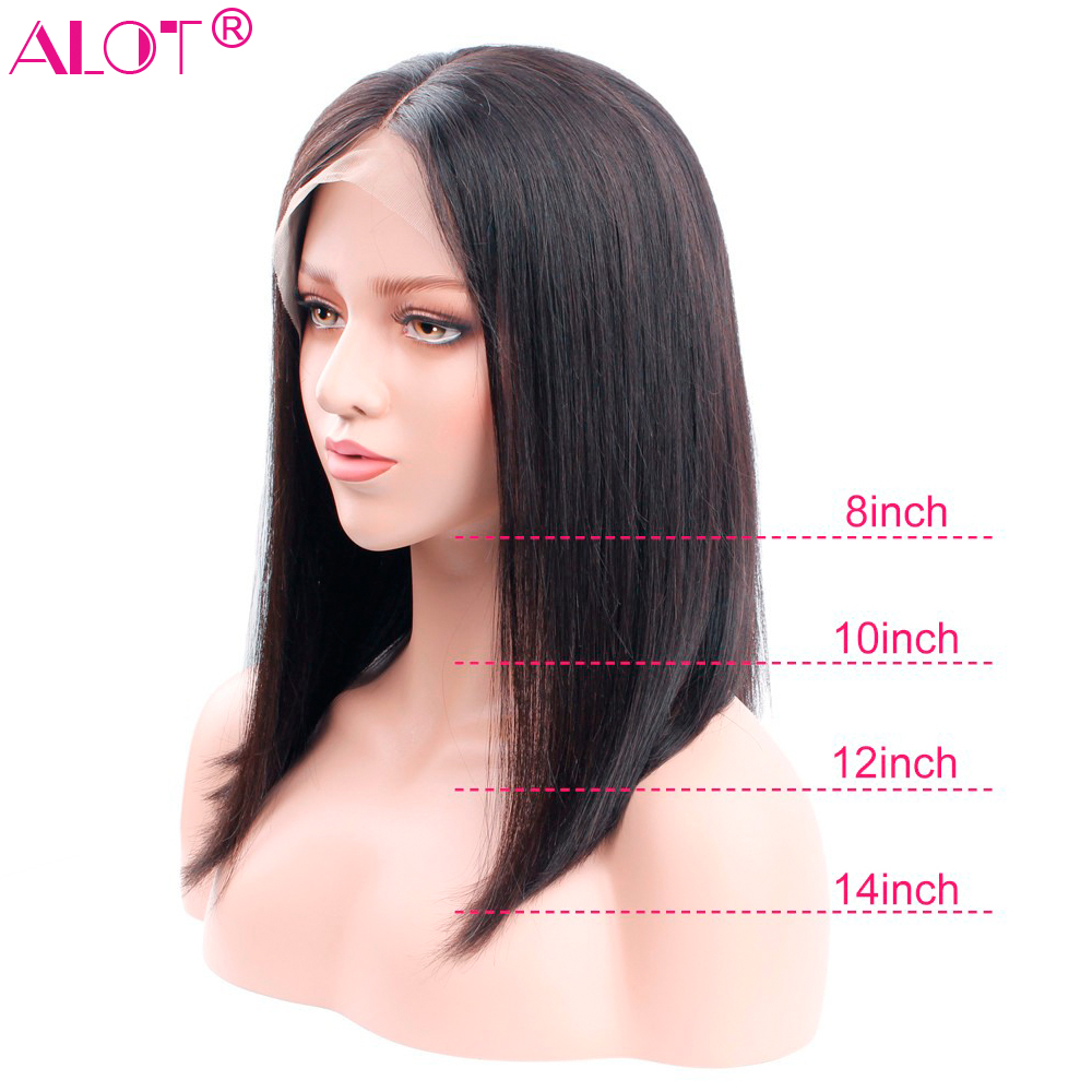 13x4 Lace Front Human Hair Wigs Brazilian Straight Glueless Bob Wig For Black Women Pre Plucked